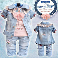 Girl Spring / Autumn  Wholesale - (3set lot) Free shipping !Girl denim casual clothing set(denim coat+t-shirt+jean pants), baby clothes set
