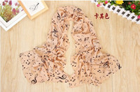 Wholesale Hot selling autumn winter lady scarf printed chiffon scarves shawls Music symbols printed chiffon long scarves