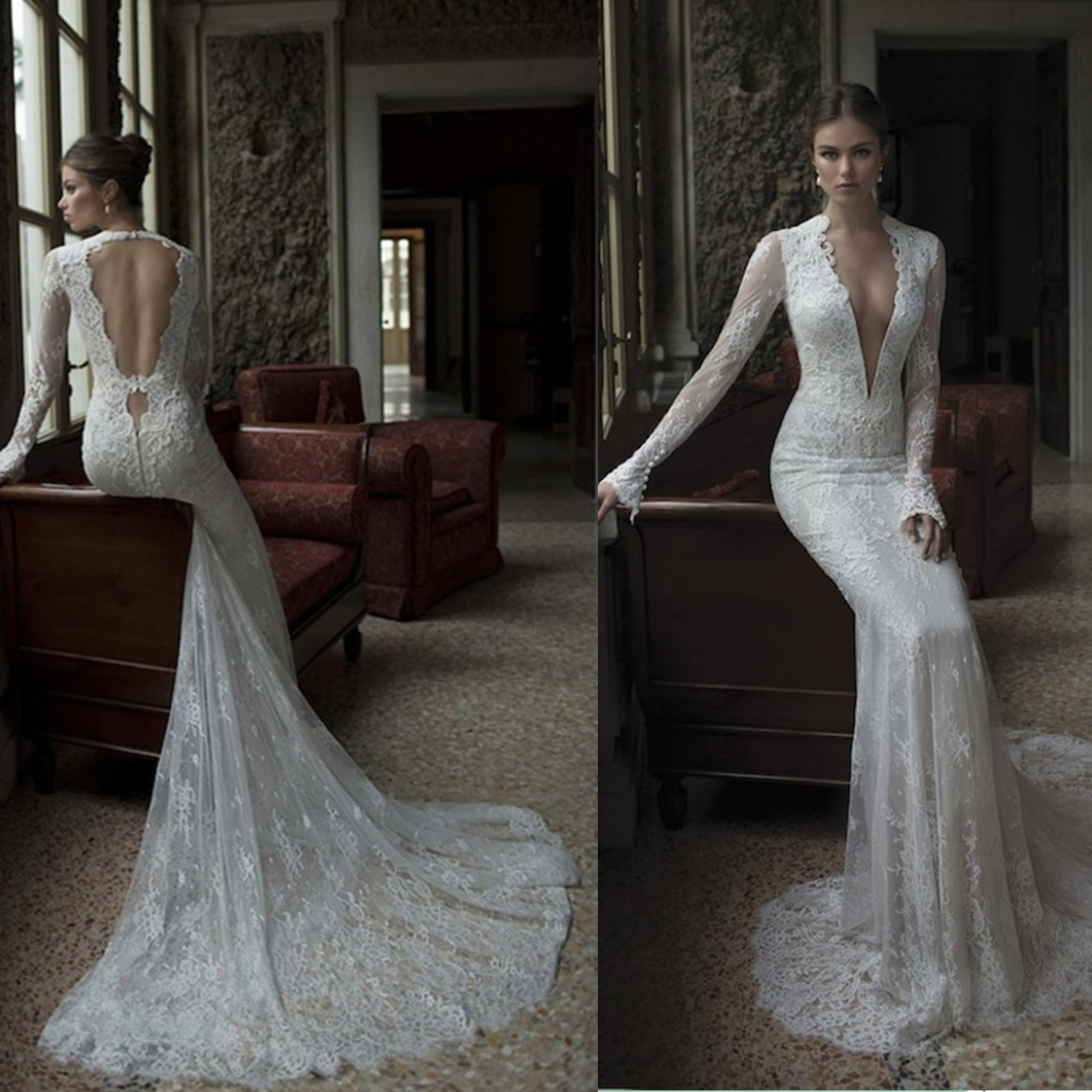 2014 sexy backless with dark v neck long sleeves vintage for Winter mermaid wedding dresses