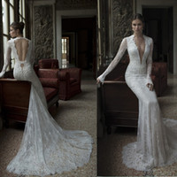 Trumpet/Mermaid Reference Images V-Neck 2014 Sexy Backless With Dark V Neck Long Sleeves Vintage Beaded Mermaid Lace Beach Wedding Dresses Bride Gowns Dress Berta Winter 2014 New