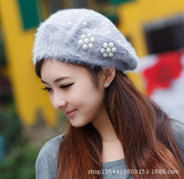 Wholesale Angora beret women s autumn and winter of the original single genuine pearl flower hat thickening encryption