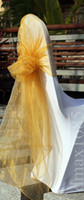Cheap Wedding gold chair sashes Best Organza  big chair sashes