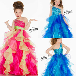 Wholesale 2014 New Listing Fashion Flower Girls Dresses One Shoulder Beading Pleated Ball Gown Floor Length Multicolor Organza Pageant Dress