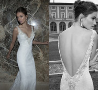 Trumpet/Mermaid Reference Images V-Neck Mermaid Lace Wedding Dresses Backless Berta Winter 2014 Applique V Neck Pearl Button Ruching Sweep Train Wedding Bridal Dresses Gowns