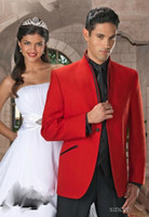 Wholesale Red Groom Tuxedos jacket suits for wedding men groom tuxedo styles Custom made Groom Wear jacket pant vest