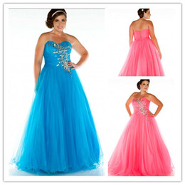Wholesale 2014 Plus Size Special Occasion DresSweep Train Custom Madeses Tulle Beaded Crystal A Line prom dresses