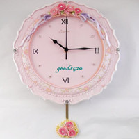 Wholesale Clock powder rustic quartz resin personalized fashion metope decoration pendulum clock