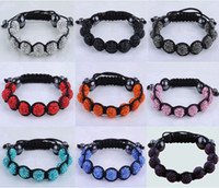 Wholesale Hot resin macrame balls crystal clay bead with black string cord hematite shamballa bracelet fashion Jewelry