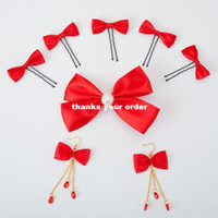 Wholesale The bride wedding dress wedding dress with a festive red bow seven sets of earrings super nice headdress