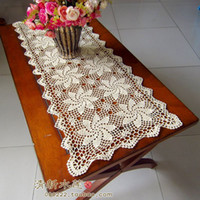 Wholesale Handmade hook needle crotch table cloth table runner rustic gremial cotton knitted cutout decoration cover towel