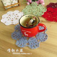 Wholesale Fresh water handmade hook needle crochet rustic decoration mat nostalgic vintage cotton round dining table pad