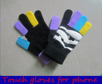 Wholesale Hot sale Five fingers Touch gloves for Iphone Ipad touch screen mobile phone Red yellow green black Five Fingers Gloves