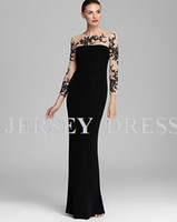 Reference Images Crew Chiffon free shipping 2013 new elie saab long sleeve special occasion embroidered formal dresses floor length plus size black long evening dressses