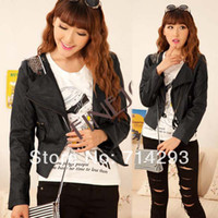 Wholesale Women s Fashion PU Leather Long Sleeve Slim short Jacket Coat Outerwear Black