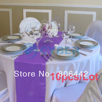 Wholesale 10Pcs Purple Satin Table Runner For Wedding Party Banquet Decoration