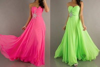 Wholesale Sexy Prom Dresses Brand New Gorgeous Beads Crystals Cheap Fuchsia Lime Green Pleats Chiffon Full Length Prom Evening Dresses