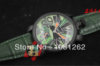 Wholesale Sales Promotion gaga milano Men s Black steel shell mechanical Colours Dial Green Leather Strap watch