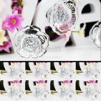 Ceramic Furniture Handle & Knob TK0748# 8 Pcs 35mm Flower Style Pull Handles Clear Crystal Glass Drawer Cabinet Knobs TK0748