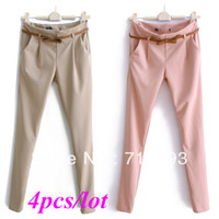 Pants Women Bootcut 4pcs lot wholesale Women's Stylish Candy Color Slim Fit Pencil Pants Casual Suit Pants Tailored Trousers 16725