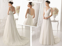 Wholesale Hot sale Modern White Bridal Gown A line Tulle Zipper V neck Beading Sweep Train Sleeveless Wedding dress Custom made