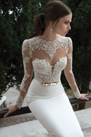 Wholesale Berta Bridal Winter Long Sleeve Backless Wedding Dresses Open Back Applique Bow Sweep Train Mermaid Sheer Wedding Dress Bridal Gowns