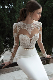 Wholesale Berta Bridal Winter Long Sleeve Backless Wedding Dresses Open Back Applique Bow Sweep Train Mermaid Sheer Wedding Dress Bridal Gowns
