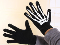 Wholesale Joint Skull Design Gloves Lady s Winter Warm Classic Skeleton Five Finger Knitted Black Gloves pairs