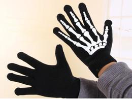 Joint Skull Design Gloves Lady's Winter Warm Classic Skeleton Five Finger Knitted Black Gloves 12 pairs
