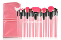 Wholesale Cosmetic Brush Set Set Make Up Foundation Pink Hair with Pink Imitation Leather Strap Brush Bag MOQ1PC Ladies Cosmetic Make Up Brush