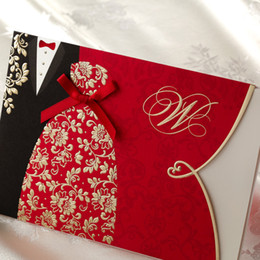 Wholesale The Bride and Groom Red Free Personalized amp Customized Printing Wedding Invitations Cards Custom With Bow