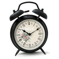 Wholesale Retro Metal Vintage Hammer Double Bell Alarm Desk Clock with Light