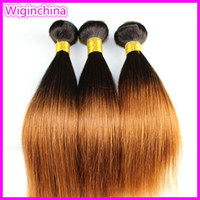 Wholesale Ombre hair Straight Mongolian Human Virgin Remy hair weave Color1b Two Tone Colored Hair extension10 inch braid hair weft