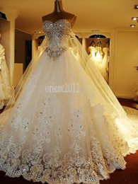 Wholesale 2014 Newest Luxury bride dress Sweetheart Swarovski crystals Applique Bead cathedral wedding dresses Evening gown
