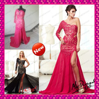 Sheer Long Sleeve Venice Lace Black Fuchsia Prom Dresses 201...
