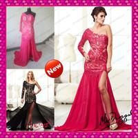 Sheer Long Sleeve Venice Lace Black Fuchsia Prom Dresses 201...