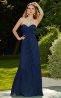 Wholesale Navy Blue Sheath Sweetheart Floor Length Fit And Flare Ruched Simple Chiffon Semi Formal Bridesmaid Wedding Party Dress