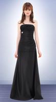 Wholesale Modern strapless sleeveless column satin black glamorous floor length bridemaid dresses handmade ruffles beaded glitter prom party gowns
