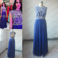 2014 Royal Blue Prom Dresses Sheer Crew Shimmering Luxury Cr...