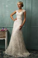 A-Line Reference Images V-Neck Vintage V-neck Short Sleeves Beaded Wasitline Bridal Dress Lace Long A-line Court Train Buttons Amelia Sposa 2014 Wedding Dresses Gowns