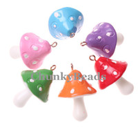 Acrylic, Plastic, Lucite resin - Hot Sale mm Mixed Color Cartoon Mushroom Resin Charms Pendants For DIY Jewelry