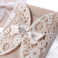 Wholesale Chic White Flower Cut out With Bow Free Personalized Customized Printing Wedding Invitations Cards