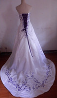 Wholesale Sexy Strapless White Satin With Purple Embroidery A line Court Train Bride Wedding Dress Lace Up back Size and Plus Size
