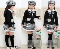 beret outfits - Vintage Kids Clothes Girls Long Sleeve Set Plaid Beret Hat Hollow Collar Bowknot Long Sleeve Tops Skirt Outfit Princess Suit D1494