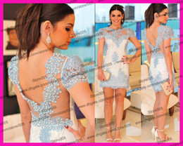 Wholesale Vestido Blue Beadwork Lace Sheath Mini Club Party Cocktail Dresses With Short Sleeve Pearl E5530