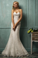 Trumpet/Mermaid Reference Images Sweetheart New Sexy Beaded Sweetheart Neckline Long Bridal Dress Tulle with Applique Floor Length Mermaid Amelia Sposa 2014 Wedding Dresses Gowns