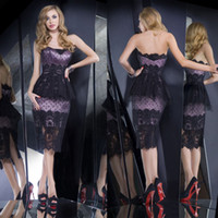 Reference Images Strapless Lace 2014 New Hot Sexy Lace Peplum Strapless Sleeveless Sheath Knee Length Lace Zip up Back Prom dresses Formal Evening gown Free Shipping