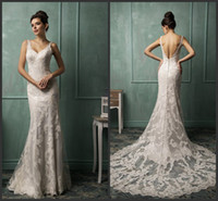 Trumpet/Mermaid Reference Images V-Neck Sexy Princess V-neck Long Backless Amelia Sposa 2014 Wedding Dress Lace Floor Length Mermaid Court Train Bridal Dresses Gowns Free Shipping