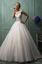 Wholesale Sheer Straps Jewel Neck Lace Top Splice Ball Gown Wedding Dresses Sleeveless Sheer Covered Button Amelia Sposa Bridal Gowns