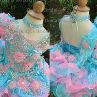 Girl age chart - 2014 Cute Baby Gril s A line Dress Pink Blue Flower Beaded One shoulder Age Baby Y Organza Gril s Pageant Dresses Dhzy