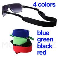 al por mayor x negro correa-50 X Vasos del cuello del neopreno de la correa de sujeción del cable / cadena / cordón de cadena para lentes de las gafas 5 colores Negro / Azul / Rojo / Verde / rosa
